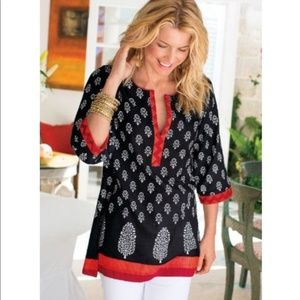 Soft Surroundings Floral Tunic 3/4 Sleeve Black